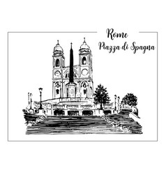 Sketch of the spanish steps in rome vector