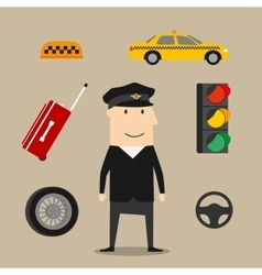 Taxi driver profession icons set vector