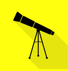 Telescope simple sign black icon with flat style vector