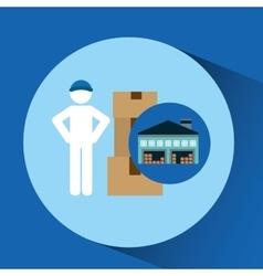 Warehouse building man worker package vector
