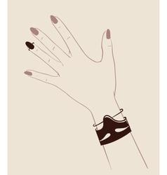 Woman hands wearing jewelry vector