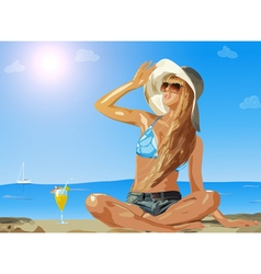 Young slim woman on sea beach vector image