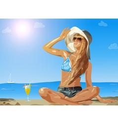 Young slim woman on sea beach vector