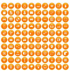 100 programmer icons set orange vector
