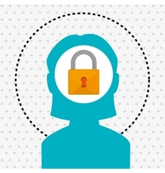 Silhouette padlock safe icon vector