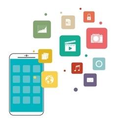 Smartphone mobile and media app design vector