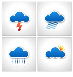 Blue paper cloud weather icons vector