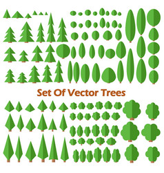 Set of flat trees vector