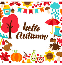 Hello autumn concept with lettering vector