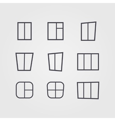 set of black silhouettes of windows isolated on vector image