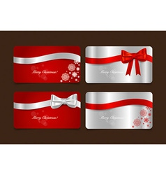 Holiday gift coupons with gift bows and ribbons vector