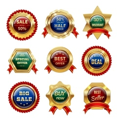 Golden sale labels vector
