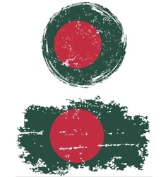 Bangladeshi round and square grunge flags vector image vector image