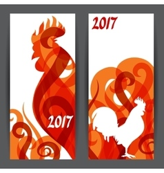 Banners with rooster symbol of 2017 by chinese vector