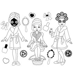 Black and White Spa Girls Set vector image