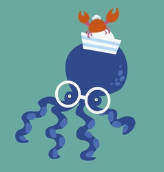 Blue octopus and crab vector