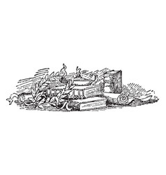 Books and scrolls are in this image vintage vector