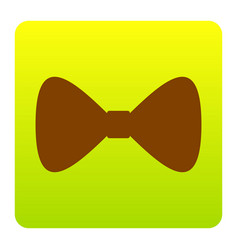 Bow tie icon brown icon at green-yellow vector