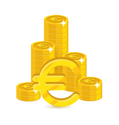 bunch gold euro isolated cartoon vector image