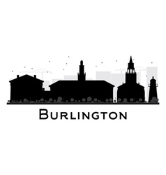 Burlington City skyline black and white silhouette vector image vector image