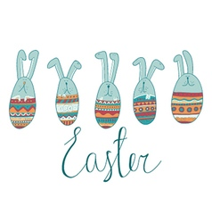 Colorful happy easter greeting card vector