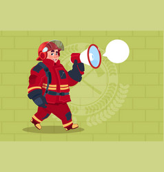 Fireman speaking in megaphone wear uniform and vector
