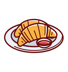 fresh soft croissants on plate with sweet jam vector image