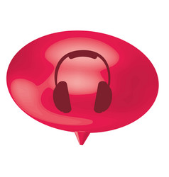 Fuchsia bubble headphone icon vector