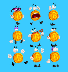 funny bitcoin character sett crypto currency vector image