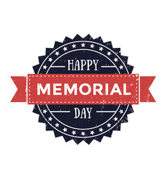 happy memorial day emblem patriotic sign vector image