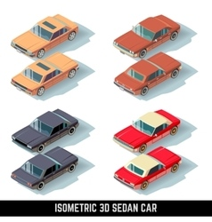 Isometric 3D sedan car city transport vector image