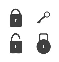 Lock and key sign icon set security concept vector