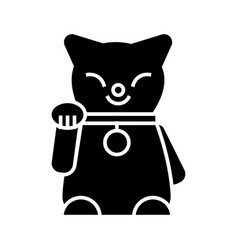 maneki neko icon black sign vector image