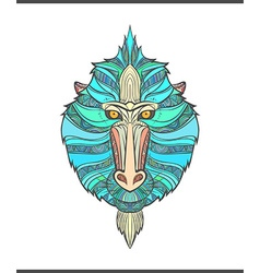 Monkey coloring outlines in boho style Ethnic hare vector image