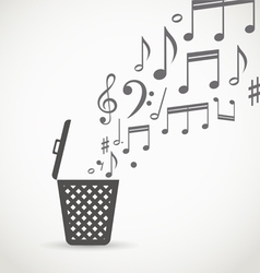 Notes flowing into a garbage basket vector image