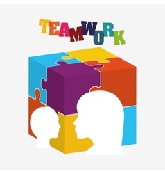 Puzzle head teamwork support design vector