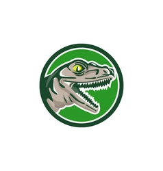 Raptor Head Side Circle Retro vector image