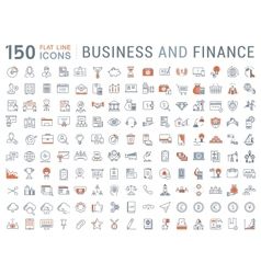 Set flat line icons business and finance vector