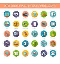 Set of modern flat design hobby icons and vector