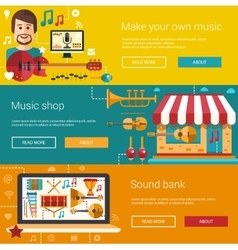 Set of music flat modern banners vector