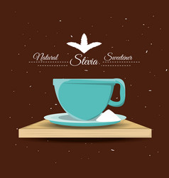 Stevia natural sweetener and a cup vector