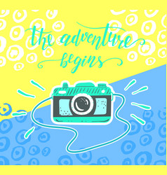 travel inspiration quote and camera on the color vector image vector image