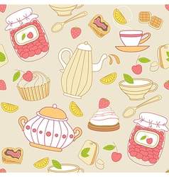Vintage seamless pattern with tea vector image vector image
