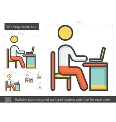 Working person line icon vector