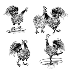 Roosters and a hen black and white vector