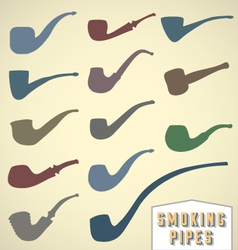 Vintage smoking pipes collection vector