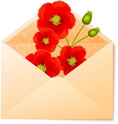 Vecot envelope with red flowers inside vector