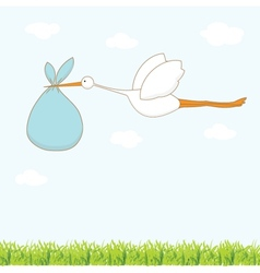 Baby arrival card with stork that brings a cute vector