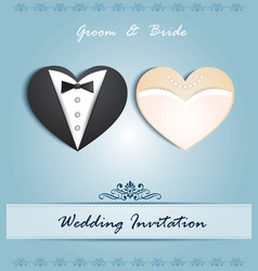 Wedding card in the form of heart vector