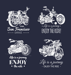 Motorcycles advertising posters set hand vector